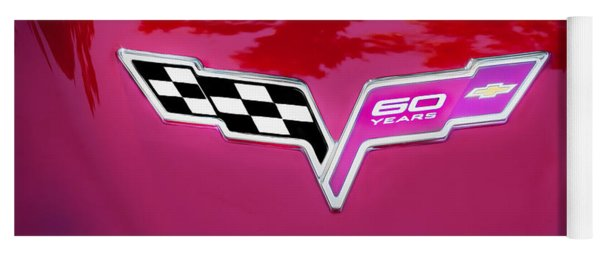 2013 Corvette 60th Anniversary Hood Logo Painted Yoga Mat