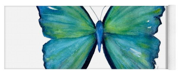 21 Blue Aega Butterfly Yoga Mat