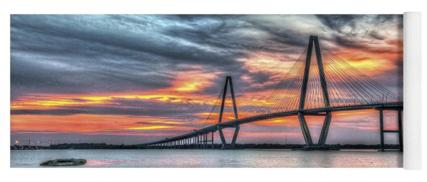 Arthur Ravenel Bridge Stormy Skies Yoga Mat