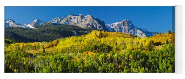 Aspen Trees With Mountains Yoga Mat