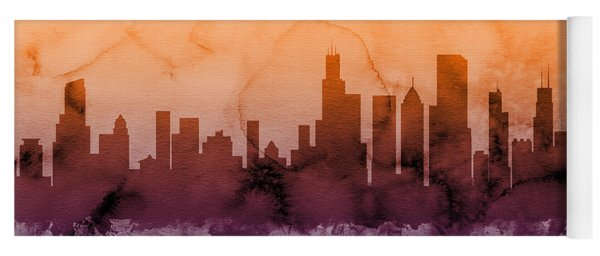 Chicago Illinois Skyline Yoga Mat