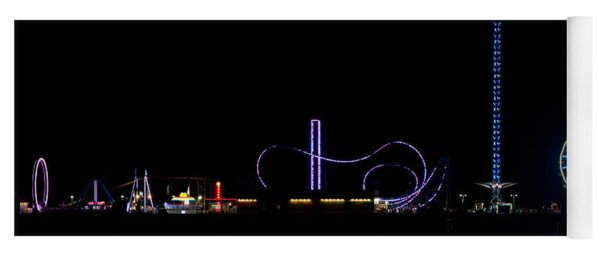 Galveston Texas Pleasure Pier At Night Yoga Mat