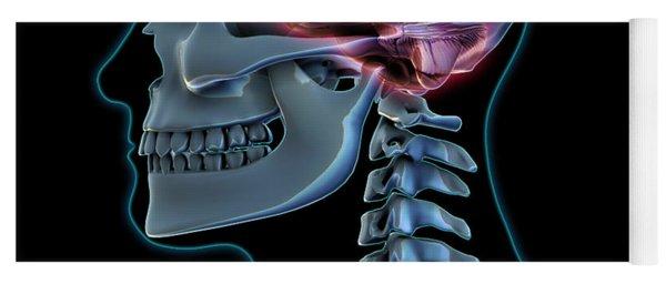 Human Skeleton And Brain, Artwork Yoga Mat