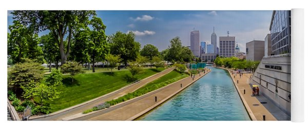 Indianapolis Skyline From The Canal Yoga Mat