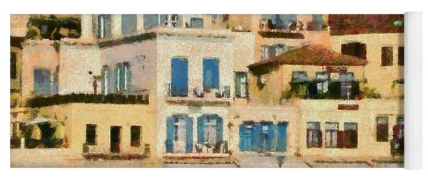 Painting Of The Old Port Of Chania Yoga Mat
