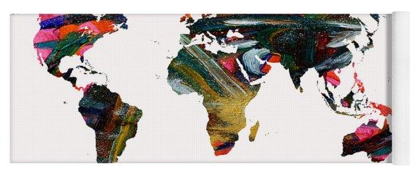 World Map And Human Life Yoga Mat