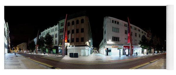 360 Degree View Of A Street At Night Yoga Mat