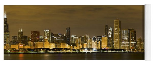Chicago Skyline At Night Yoga Mat