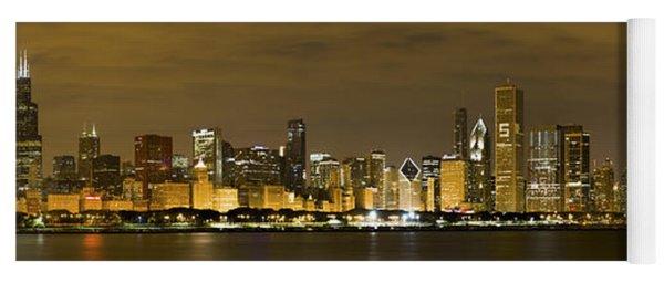 Chicago Skyline At Night Yoga Mat