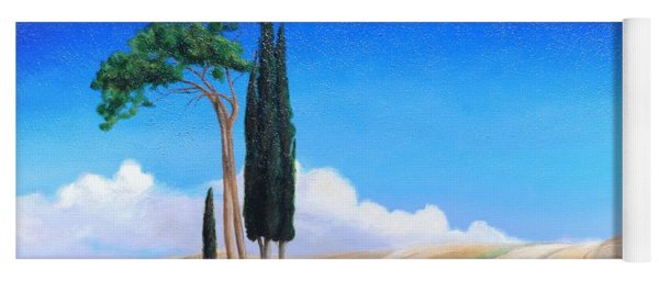 4 Trees, Picenza, Tuscany, 2002 Oil On Canvas Yoga Mat