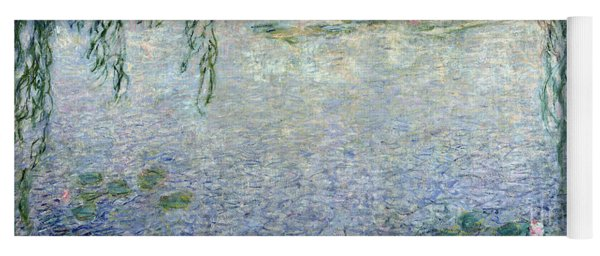 Waterlilies Morning With Weeping Willows Yoga Mat