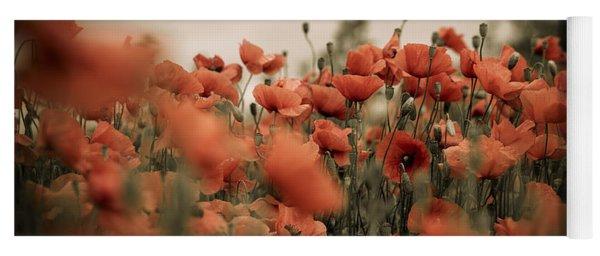 Red Poppy Flowers Yoga Mat