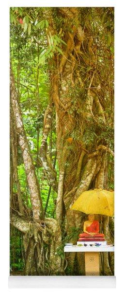 a Buddha shrine under a Bothi tree Yoga Mat