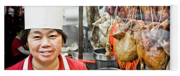 A Chinese Cook By Row Of Roasted Ducks Yoga Mat