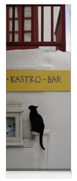 A Curious Cat In Mykonos Yoga Mat