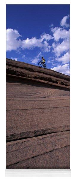 A Female Mountain Biker Mountain Biking Yoga Mat