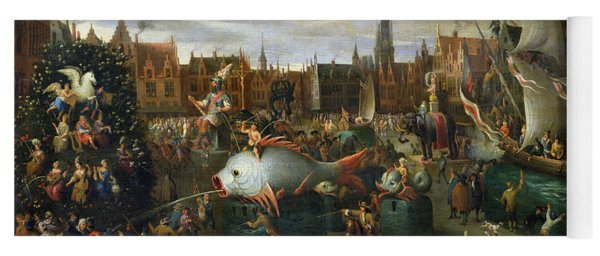 A Festival At Antwerp Oil On Canvas Yoga Mat