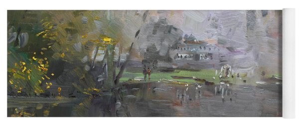 A Foggy Fall Day By The Pond  Yoga Mat