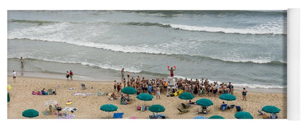 A Lifeguard Gives A Safety Briefing To Beachgoers In Ocean City Maryland Yoga Mat