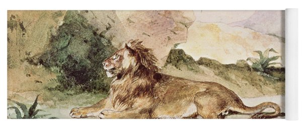 A Lion In The Desert Yoga Mat