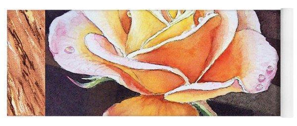 A Single Rose Dew Drops On Ruffles  Yoga Mat