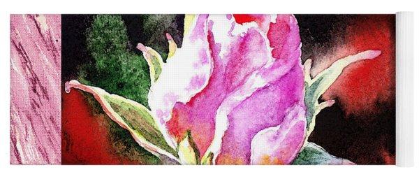 A Single Rose Pink Impressionism  Yoga Mat