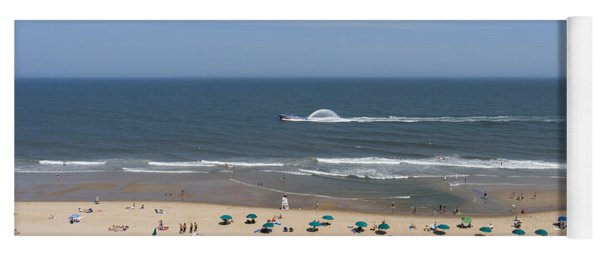A Touring Speedboat Passes By Shore In Ocean City Maryland Yoga Mat