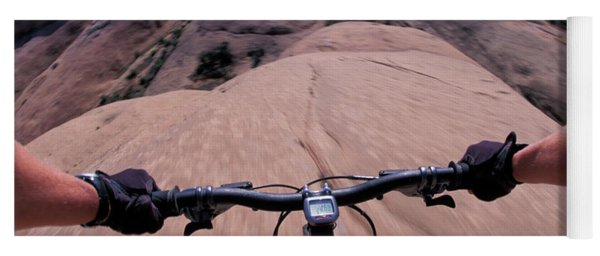 A View Of A Female Mountain Bikers Yoga Mat
