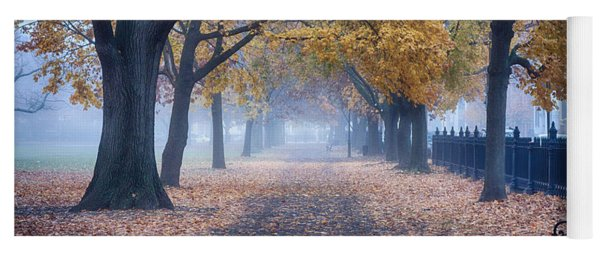 A Walk In Salem Fog Yoga Mat