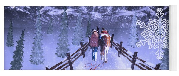 A Walk In The Snow Yoga Mat