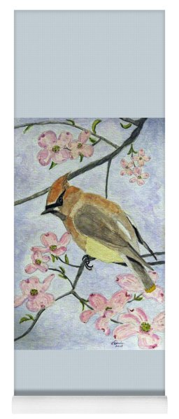 A Waxwing In The Dogwood Yoga Mat