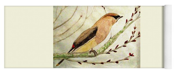 A Waxwing In The Orchard Yoga Mat
