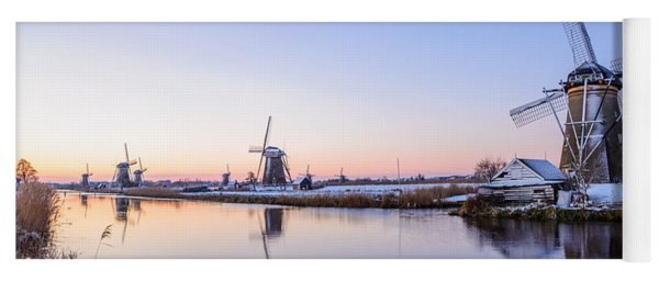 Yoga Mat featuring the photograph A Cold Winter Morning With Some Windmills In The Netherlands by IPics Photography