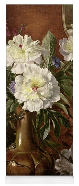 White Peonies In A Glazed Victorian Vase Yoga Mat