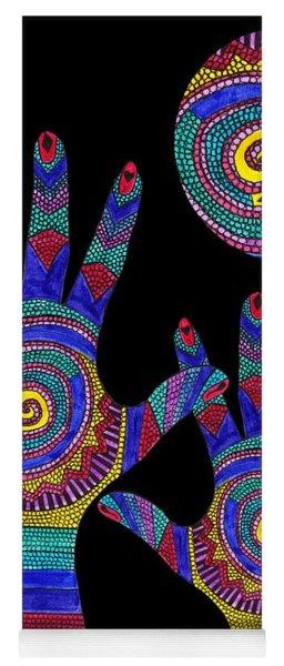 Aboriginal Hands To The Sun Yoga Mat