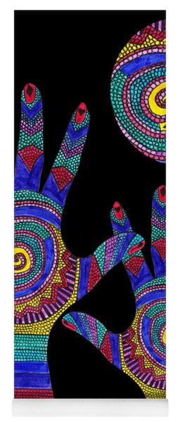 Aboriginal Hands To The Sun Yoga Mat