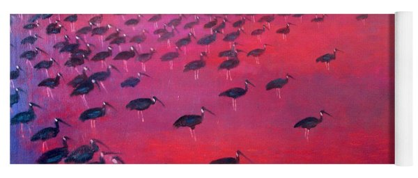 About 250 White Shouldered Ibis Oil On Canvas Yoga Mat
