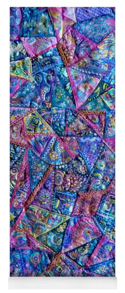 Abstract Blue Rose Quilt Yoga Mat