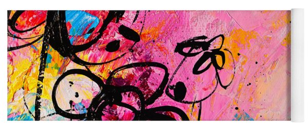 Abstract Flowers In Hot Pink 1 Yoga Mat