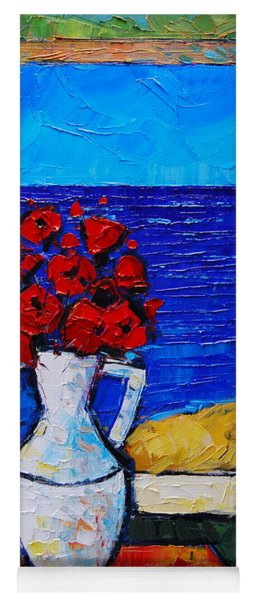 Abstract Poppies By The Sea Yoga Mat