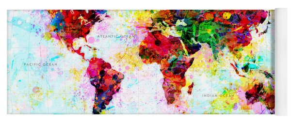 Abstract World Map Yoga Mat