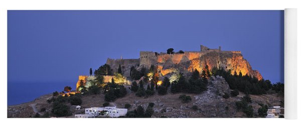 Acropolis And Village Of Lindos During Dusk Time Yoga Mat