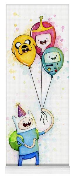 Adventure Time Finn With Birthday Balloons Jake Princess Bubblegum Bmo Yoga Mat