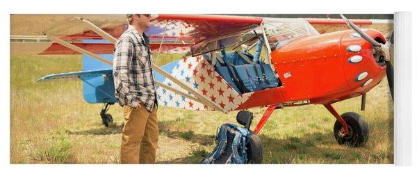 Adventurers Man With A Bush Plane Yoga Mat