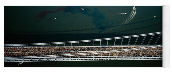 Aerial View Of A Crowd Running Yoga Mat