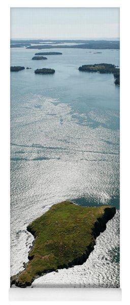 Aerial View Of Hard Head Island, Maine Yoga Mat
