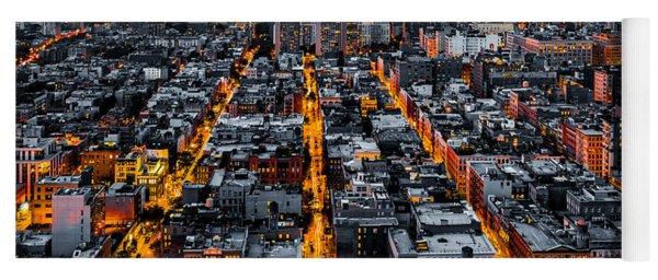 Aerial View Of New York City At Night Yoga Mat