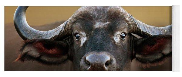 African Buffalo Cow Portrait Yoga Mat