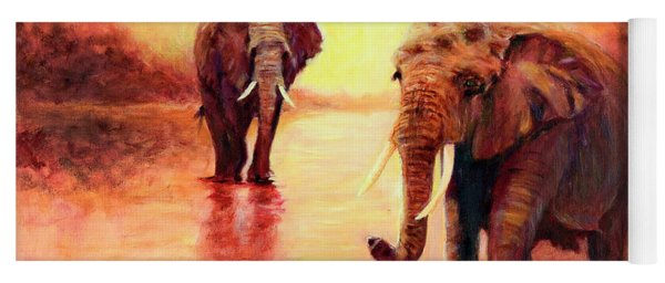 African Elephants At Sunset In The Serengeti Yoga Mat