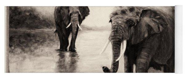 African Elephants At Sunset Yoga Mat